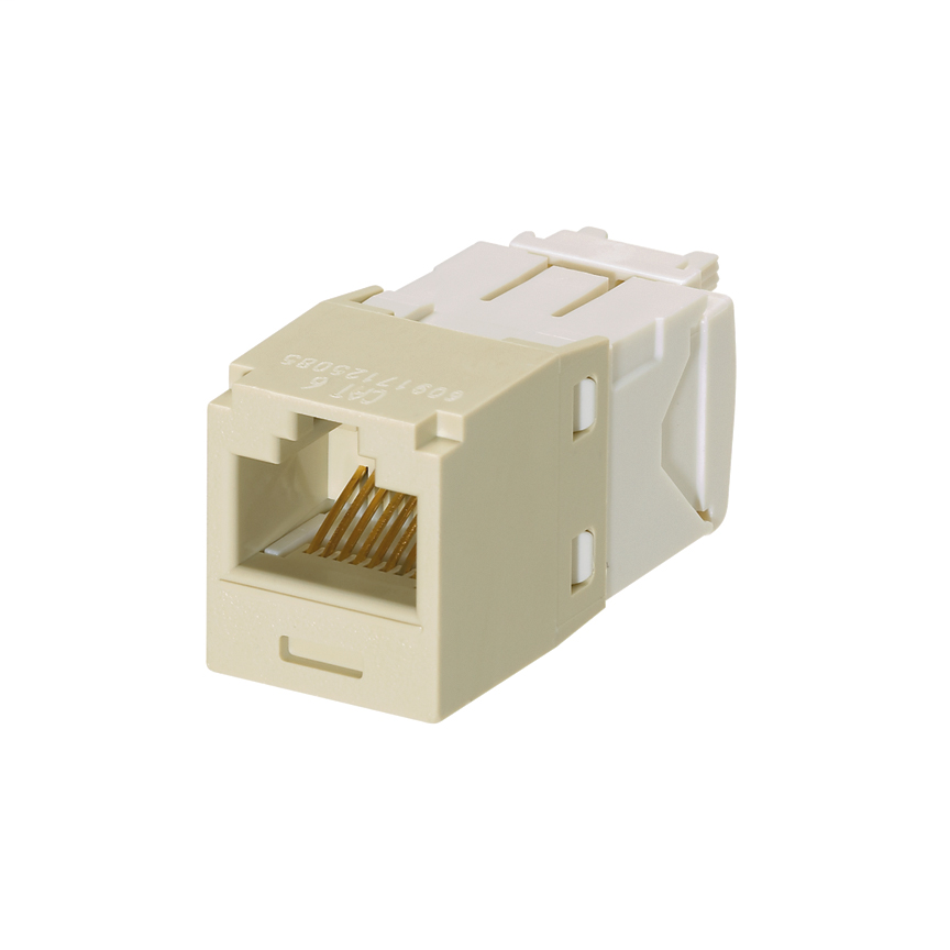 Mini-Com Module, Category 6, Unshielded Twisted Pair (UTP), 8 Port 8 Wire, Universal, Electric Ivory, TG Style, UTP Jack Module