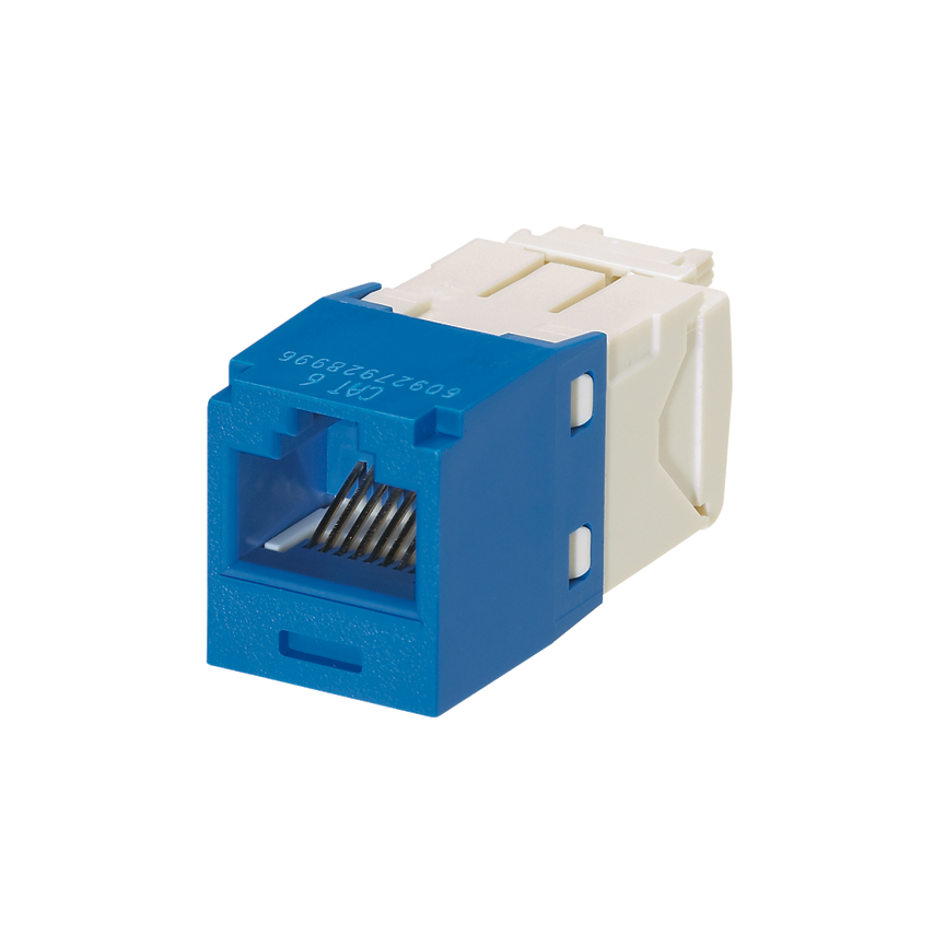 Mini-Com Module, Category 6, Unshielded Twisted Pair (UTP), 8 Port 8 Wire, Universal, Blue, TG Style, 24 Pack, UTP Jack Module