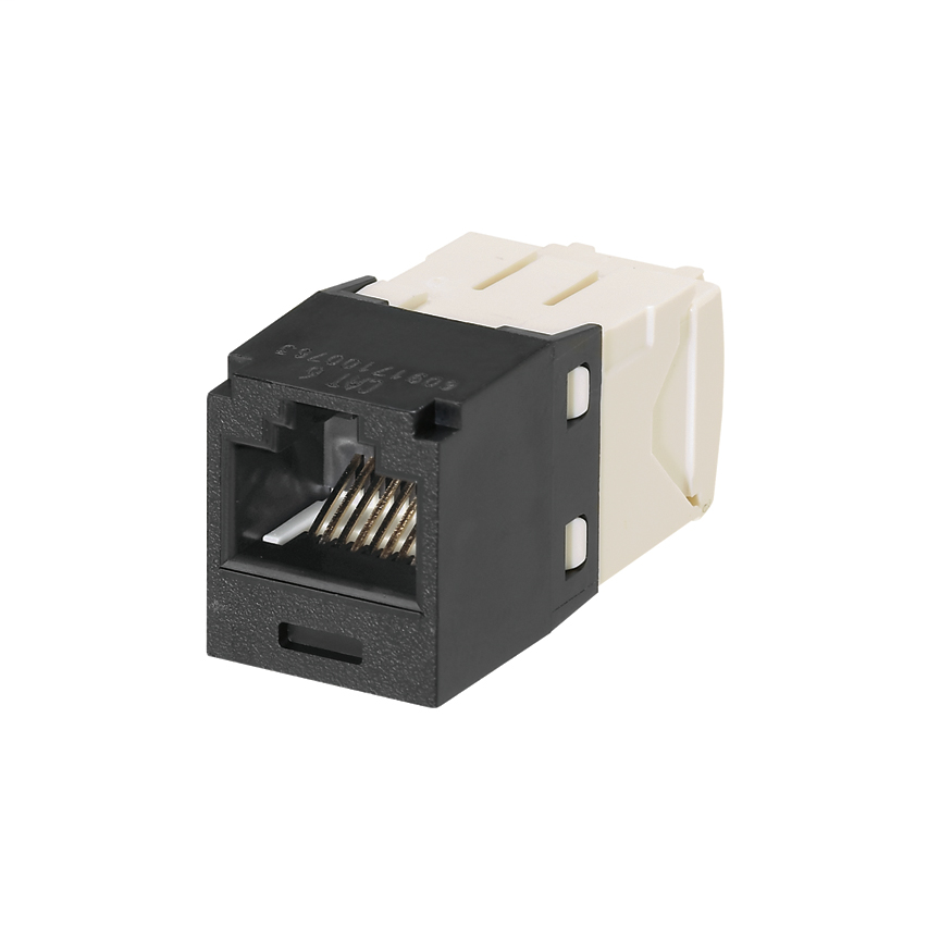 Mini-Com Module, Category 6, Unshielded Twisted Pair (UTP), 8 Port 8 Wire, Universal, Black, TG Style, UTP Jack Module