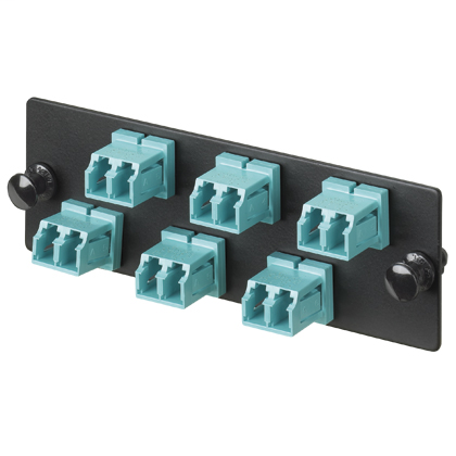 LC Fiber Optic Adapter Panel OM3/OM4 10Gig With Six LC Duplex Adapters Aqua With Zirconia Ceramic Split Sleeves