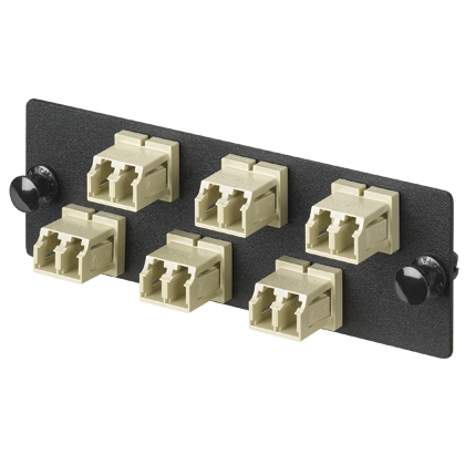 LC Fiber Optic Adapter Panel With Six LC Duplex Fiber Adapters Electric Ivory Phosphor Bronze Split Sleeves