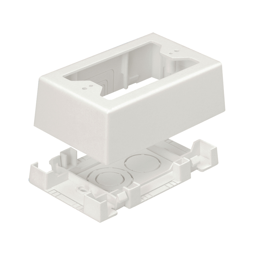 Single Gang Low Voltage Outlet Box with Adhesive for Screw-on Faceplates, Off White