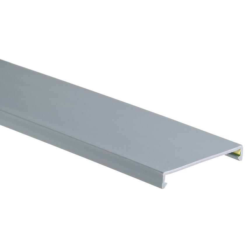Duct cover, 2 W x 6' length, PVC, light gray.