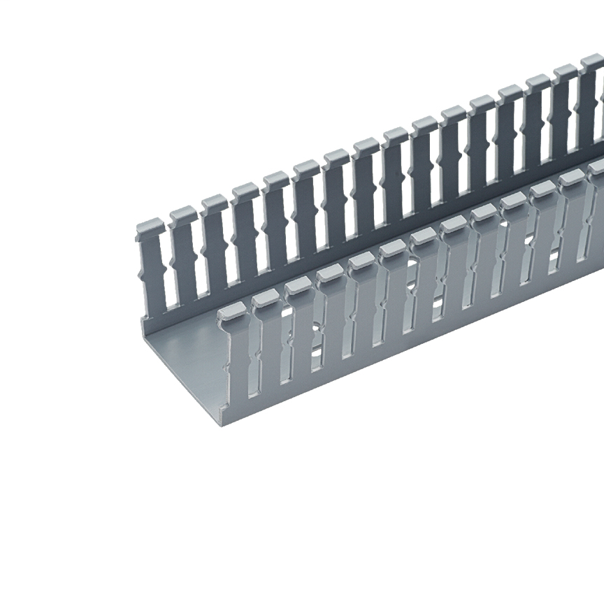 The Panduct® type F narrow slot wiring duct has a nominal duct size of 1.5W x 3H (38.1mm x 76.2mm) and is 6' long. It is light gray and made of PVC.