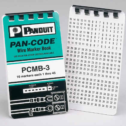 Pre-printed Wire Marker Books are conveniently pocket-sized, containing wire labels printed on vinyl cloth. Markers are durable enough for up to 5 years outdoor UV Resistance, oil and abrasions. They can also be torn in half to label each end of the conductor. Legend: 0-9, 45 markers per legend, 10 pages per book.