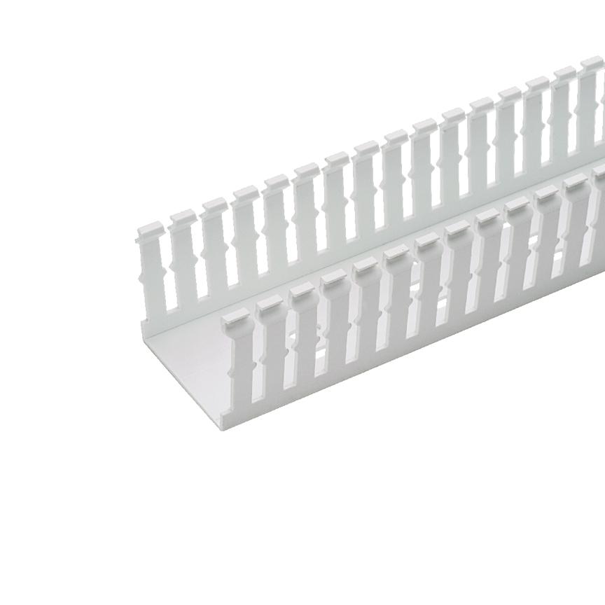 Panduct® type F narrow slot wiring duct, 1 W x 2 H, 6' length, PVC, white.