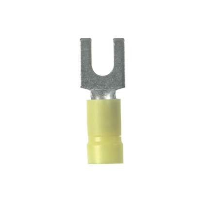 Fork Terminal, vinyl insulated, funnel entry, 12- 10 AWG, 1/4 stud size, standard package.