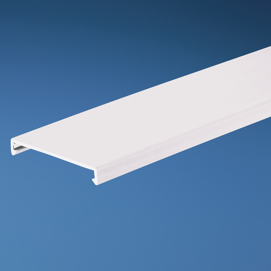 Duct cover, 1.5 W x 6' length, PVC, white.