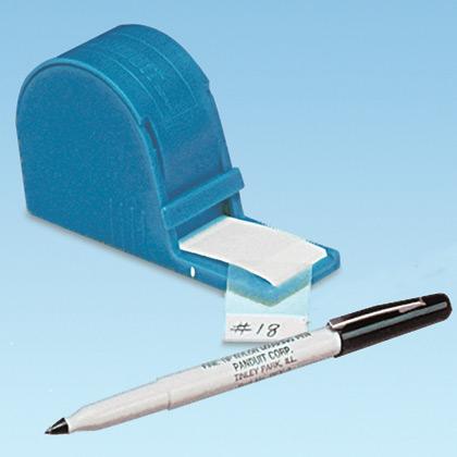 PANDUIT (1) Dispenser.(1) Roll, white write-on, vinyl label, 200/roll.(1) PFX-0 pen.
