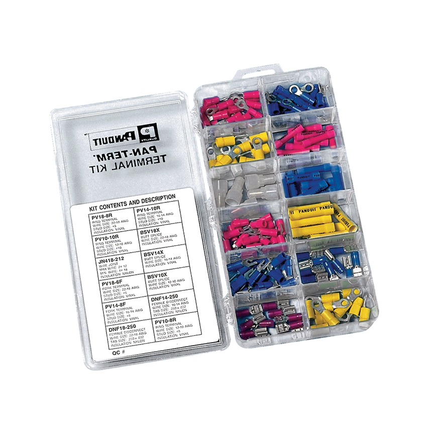Terminal kit without crimping tool. Includes the following: (20) PV18-8R; PV18-6F; PV14-8F; PV14-10R; (10) PV10-8R; PV10-10R; DNF14-250; DNF18-250; BSV18X; BSV14X; BSV10X; (10) JN418-212.