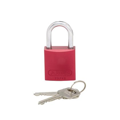 """Aluminum body padlock, 1.06"""" shackle, red."""