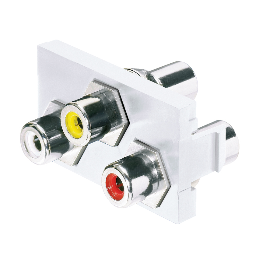 PANDUIT 1/3 insert with three RCA pass-through couplers. RCA insert colors are white, yellow, and red. Composite video and left and right stereo.
