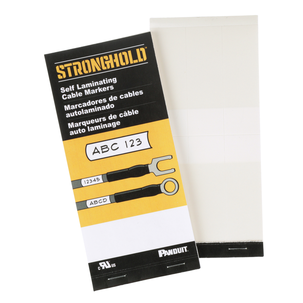 Blank Self-Laminating Write-On Cable Marker Books are vinyl and laminated to protect handwritten legends in difficult environments. 6.0in x 1.0in, 30 markers per book, White.