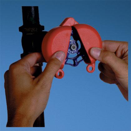 "Gate valve lockout, accommodates 1.00"" – 2.50"" diameter handle, red."