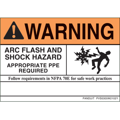 "PANDUIT NEC warning label, 3.5"" H x 5.0"" W (88.9mm x 127.0mm), warning header, 'Arc flash and shock hazard appropriate PPE required...' (legend) with symbol, vinyl adhesive, orange header and black/white, 1 sign/card, 5 cards/package."