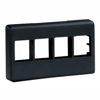 PANDUIT NetKey modular furniture faceplate for industry standard opening, accepts four keystone modules. Black.