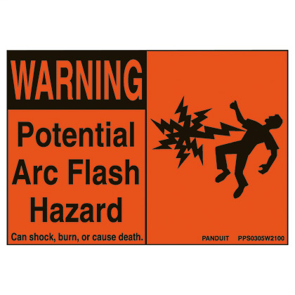 "PANDUIT Adhesive Sign, Polyester, 'Warning Arc Flash..', 4.50"" x 2.25"", 5 Pieces/Pack/pk, BL/OR"