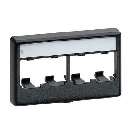 PANDUIT Mini Com modular furniture faceplate for industry standard opening, accepts four Mini-Com® Modules. Includes label and label cover. Black.