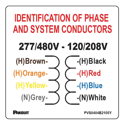 "PANDUIT 4"" X 4"" label for compliance with NEC 210.5, Phase Conductor Label."