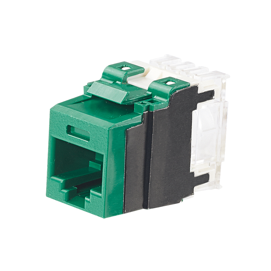 PANDUIT Category 6A, 8-position, 8-wire, keystone punchdown jack modules, green.