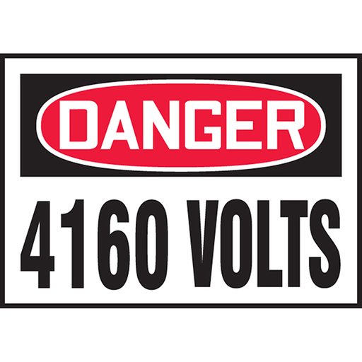"""Safety Label, 3.50"""" x 5.00"""", DANGER 4160 VOLTS, Outdoor Durability 2 years"""