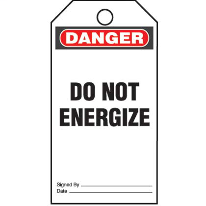 """Write-on safety tag, 3.00"""" W x 5.75"""" H, danger header, 'Do not energize…' (legend), semi-rigid vinyl, red and black/white, 25 tags and ties/package."""