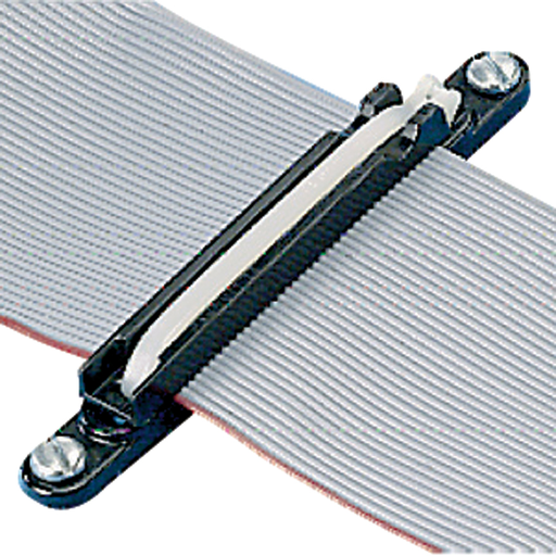 """The flat cable mounting system uses one base, one corresponding size plate (FCPI), and one intermediate cross section cable tie to secure stacked 3.0"""" (76.2mm) wide cables, folds, and breakouts, as well as laminated and molded bus bars. For indoor use onl"""