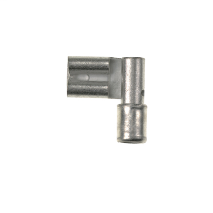 """The vibration resistant female disconnect is made of brass and is tin-plated. It is non-insulated in metallic housing. It has a tab size of 0.205/0.187 x 0.02"""" (5.2/4.8 x 0.5 mm) and supports a wire range of 16-14 AWG (1.5-2.5 mm²). It is 0.54"""" (13.7 mm)"""