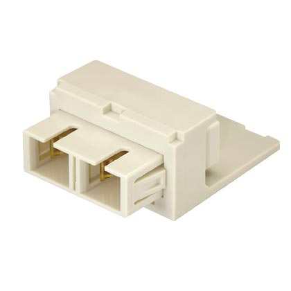 Module supplied with one SC duplex fiber optic adapter with phosphor bronze split sleeves, Arctic White.