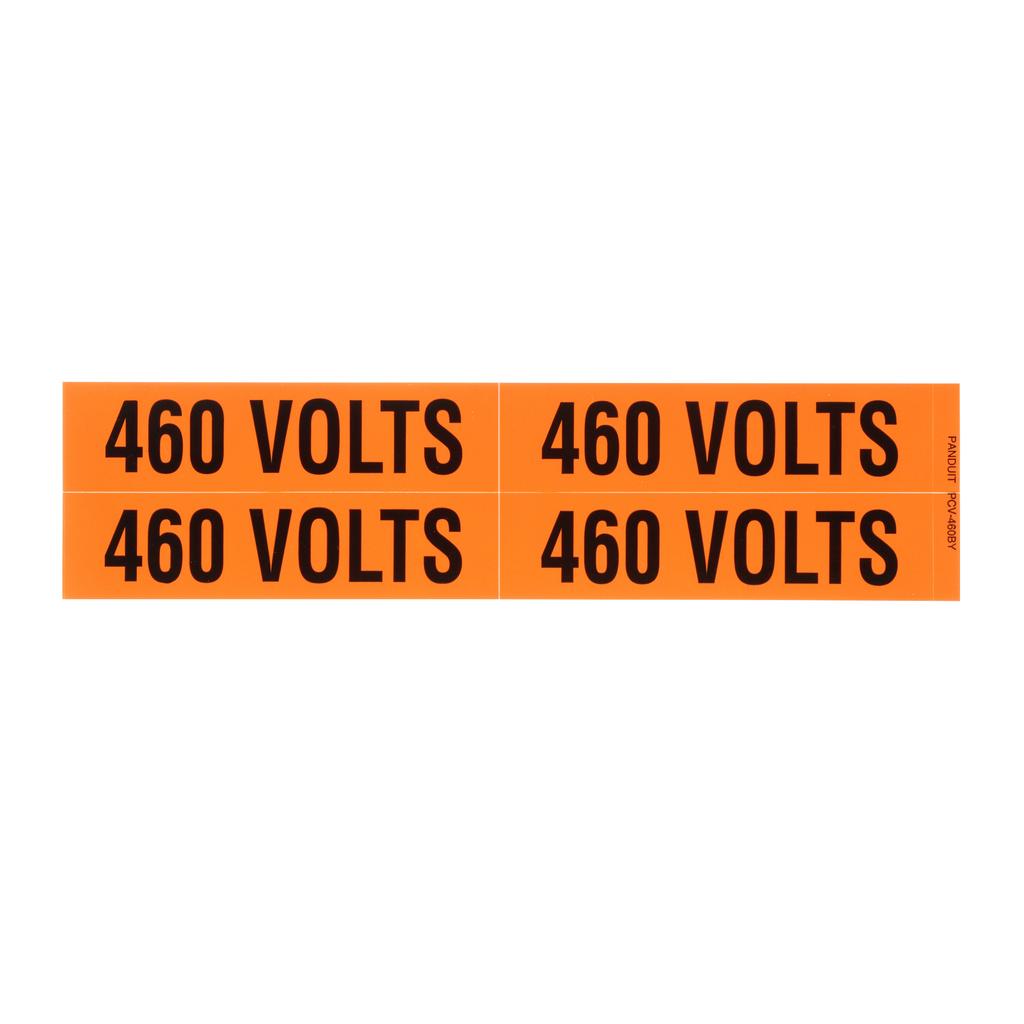 Panduit PCV-460BY 1.13 x 4.5 Inch Black/Orange Vinyl Legend 460 Volts Voltage Marker