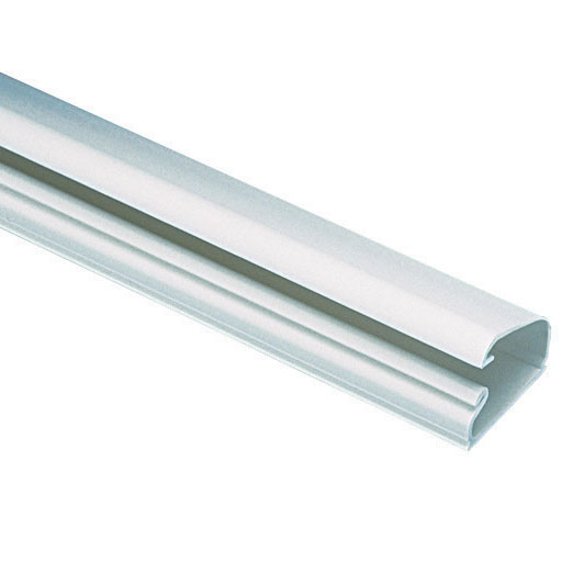 """The one-piece LD5 low-voltage latching single-channel surface raceway is supplied with pre-applied adhesive-backed tape. It is off white and made of PVC. It measures 6' (1.8m) long and 1.01"""" (25.8mm) wide. It comes in 6 foot sections."""