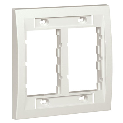 Mayer-Double gang faceplate frame which accepts up to four 1/2-size module inserts or six 1/3-size module inserts. Supplied with labels and label cover/screw covers, Electric Ivory.-1