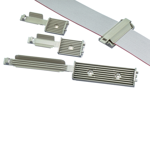 """Latching flat cable mount, #6 screw (M3), 3.25"""" (82.6mm) cable width, gray, standard package."""
