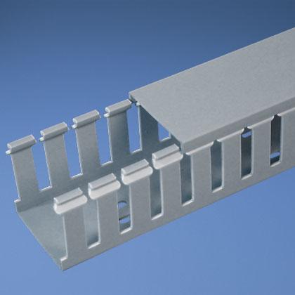 Panduct® type G wide slot wiring duct, 1 W x 1.5 H, 6' length, PVC, adhesive, light gray.