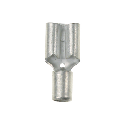 """The vibration resistant female disconnect in metallic brass helps overcome the failures caused by high vibration. It has a tab size of 0.187 x 0.020"""" (4.8 x 0.5 mm) and supports a wire range of 22-18 AWG (0.5-1.0 mm²). It is 0.58"""" (14.7 mm) long and 0.23"""""""