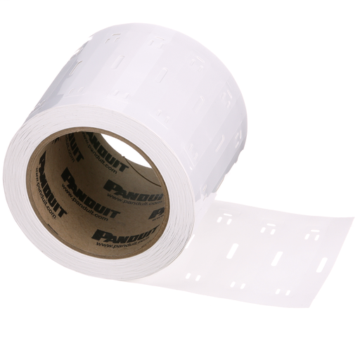 "Thermal Transfer, marker plate, 3.00"" W x 1.00"" H, polyester/polyolefin, white, 500 pc. package quantity."