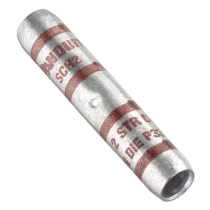 Copper splice with corona relief taper, #2 AWG wire.