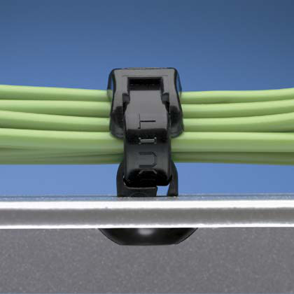 """The push button cable tie mount requires a 0.25"""" (6.4 mm) hole and is natural color. It is made of nylon 6.6, which increases mechanical strength, heat and wear resistance, and stiffness. It comes in packages of 100."""