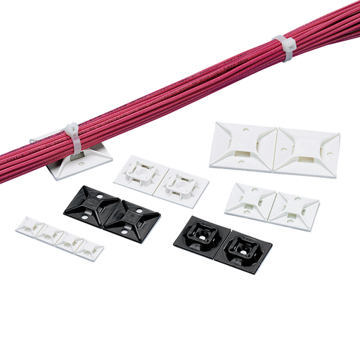 """The cable tie mount in white uses #6 (M3) screws or user supplied adhesive. It is 1.0"""" long x 1.0"""" wide (25.4 x 25.4 mm) and made of ABS plastic. It is used with miniature, intermediate, and standard cable ties. It is designed for indoor environments, and"""