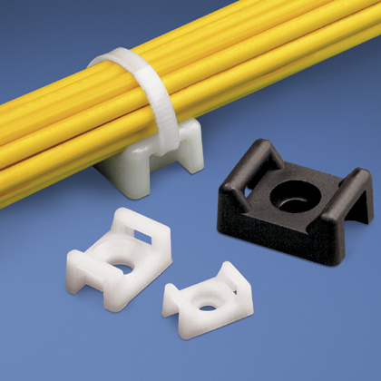 """The cable tie mount in natural color is applied with a 1/4"""" (M6) screw and is 0.63"""" (16 mm) wide. It is made of nylon 6.6, which increases mechanical strength, heat and wear resistance, and stiffness in indoor environments. It comes in packages of 100."""