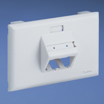 Single gang, horizontal sloped communication snap-on faceplate accepts up to two Mini-Com® Modules, White.