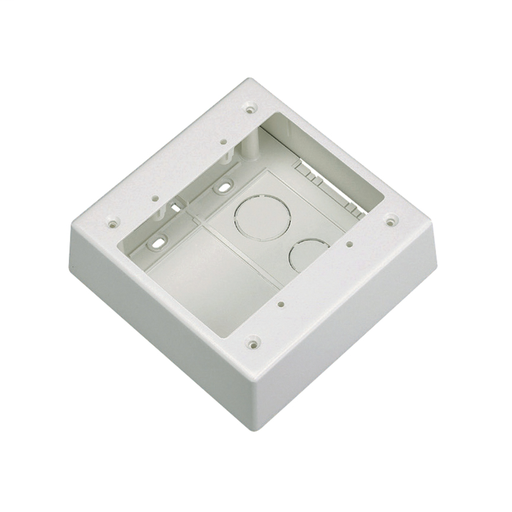 """Mayer-Double gang two-piece screw together outlet box. Box accepts Pan-Way® Screw-On Faceplates or any NEMA standard double gang faceplates. For use with Pan-Way® LD profile raceway. 5.05""""L x 5.05""""W x 1.62""""H (128.2mm x 128.2mm x 41.1mm). Breakouts for 1/2"""" or 3/4"""" diameter conduit, International Grey.-1"""