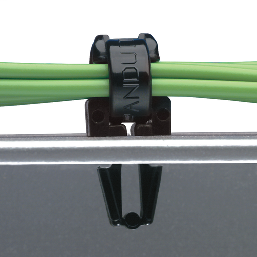"""The push barb cable tie mount requires a 0.25"""" (6.4 mm) hole and is black. It is made of weather-resistant nylon 6.6, which increases mechanical strength, heat and wear resistance, and stiffness. It comes in packages of 1000."""