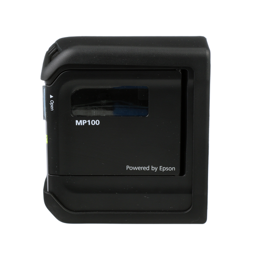 Includes MP100 Printer with Protective Impact Bumper, 1 Cassette of T100X000VPM-BK, USB Cable, and Power Adapter (MP100-AC). For use in North America