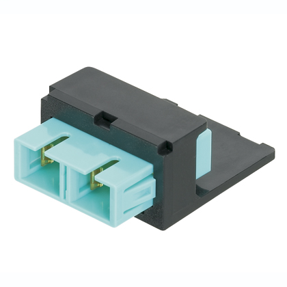 Module supplied with one SC OM3/OM4 Simplex Multimode Fiber Optic Adapter (AQ) with zirconia ceramic split sleeve.