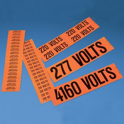 """Voltage marker, 2.25"""" W x 0.50"""" H, '380 Volts' (legend), vinyl, black/orange, 18 marker/card, 5 cards/package."""