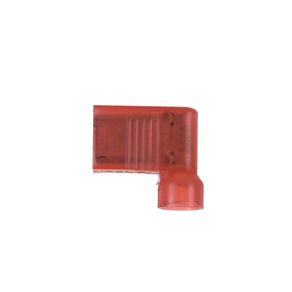 """The vibration resistant, right angle style female disconnect is made of brass and is tin-plated. It is fully insulated in red nylon. It has a tab size of 0.250 x 0.032 (6.3 x 0.8 mm) and supports a wire range of 22-18 AWG (0.5-1.0 mm²). It is 0.58"""" (14.7"""