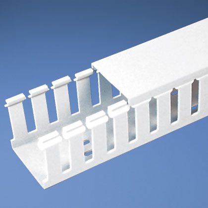 Panduct® type G wide slot wiring duct, .75 W x 1.5 H, 6' length, PVC, white.