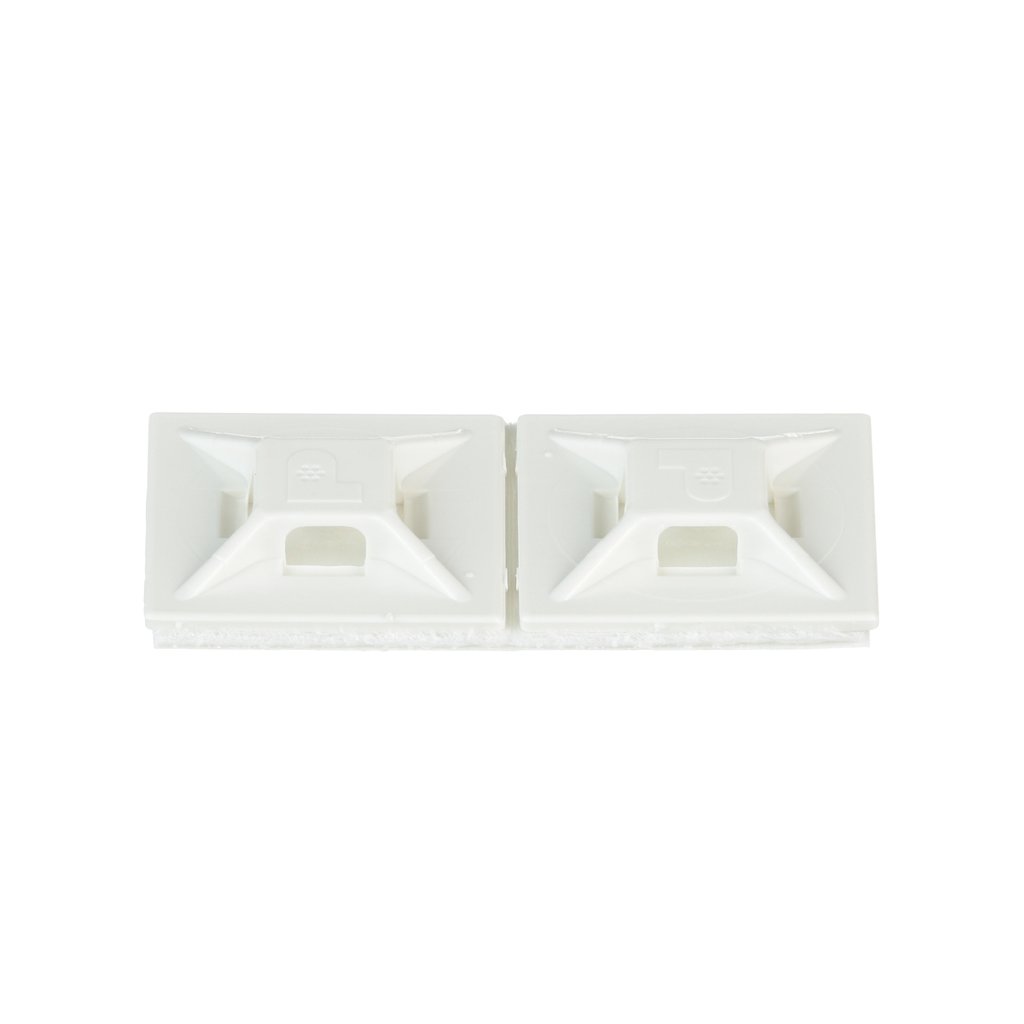 """Mayer-Panduit's ABMM-A-C rubber-based adhesive back cable tie mounts have been designed for fast installation and long-term performance. These mounts can be used with miniature and intermediate cables ties. Made of ABS plastic and intended for use in indoor environments. They are 0.75"""" x 0.75"""" (19.1mm x 19.1mm), supplied in strips of 2, are white in color and come in packages of 100.-1"""