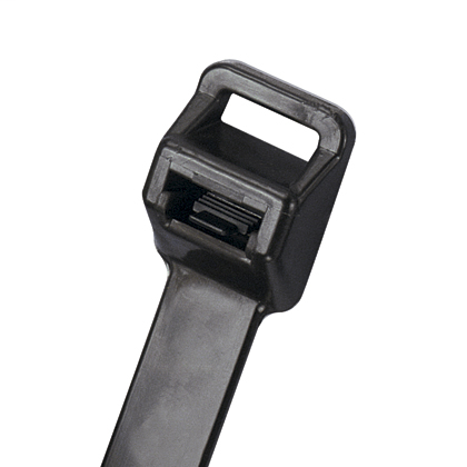 """Mayer-Panduit PRT6EH-Q0 Releasable Lashing Cable Ties have a release tab that permits easy release where changes are anticipated during development, production or servicing in the field. Ideal for heavy duty applications. Extra-Heavy cross section, 22.2"""" (564mm) length. For Indoor or outdoor use, made of Weather Resistant Nylon 6.6 with high resistance to ultraviolet light, are black in color and come in packages of 25.-1"""
